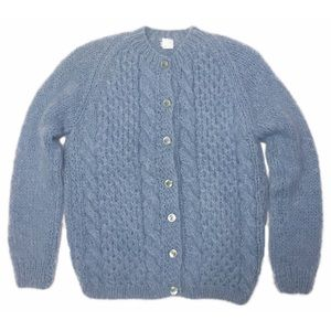 Vintage Hand Knit Mohair Blend Italy Cardigan Blue